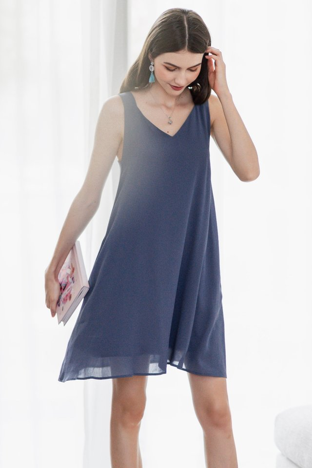 ACW Thick Strap Adjustable Button Swing Dress in Stone Blue