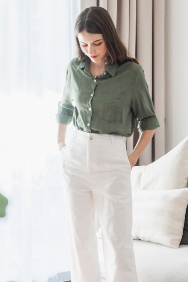 ACW Linen Button Down Shirt in Olive