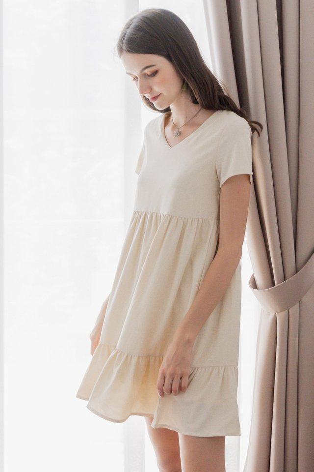 ACW Sleeved Drop Hem Babydoll Dress in Ivory