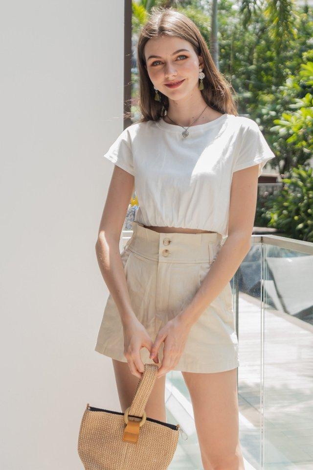 ACW Linen Paperbag Shorts in Ecru