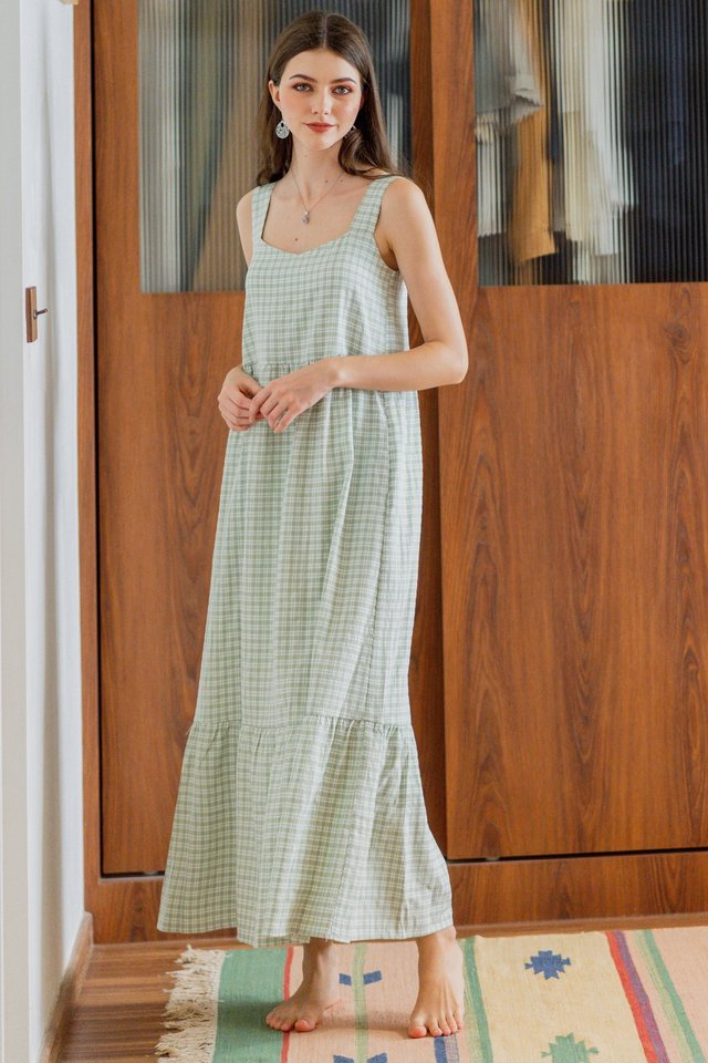 *BACK IN STOCK* Gingham Two Way Maxi Dress in Sage