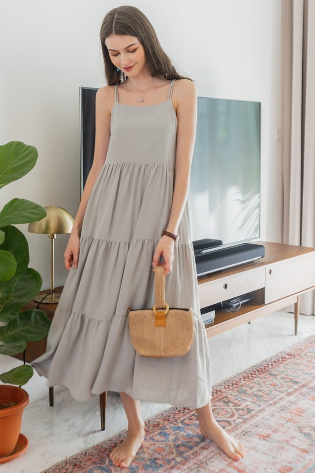 ACW Duo Strap Tiered Maxi Dress in Sage