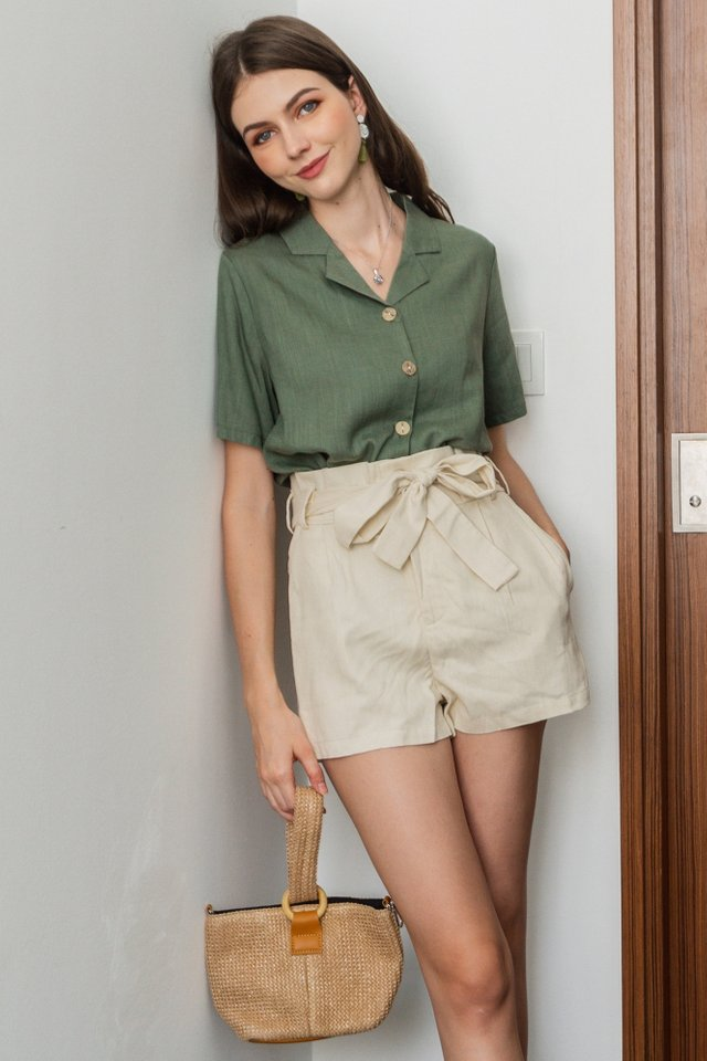 ACW Linen Camp Collar Shirt in Olive