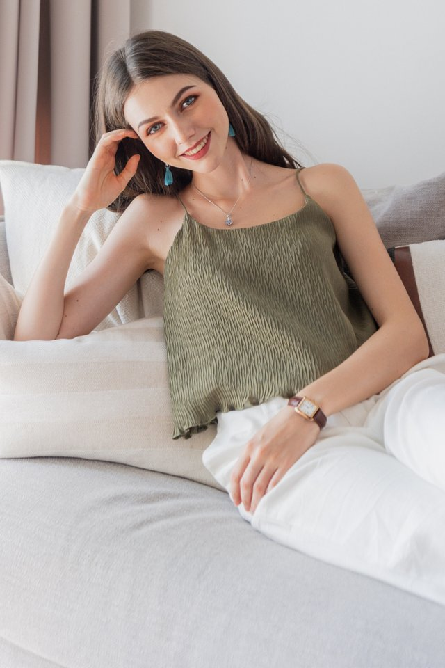ACW Pleated Cami Top in Olive