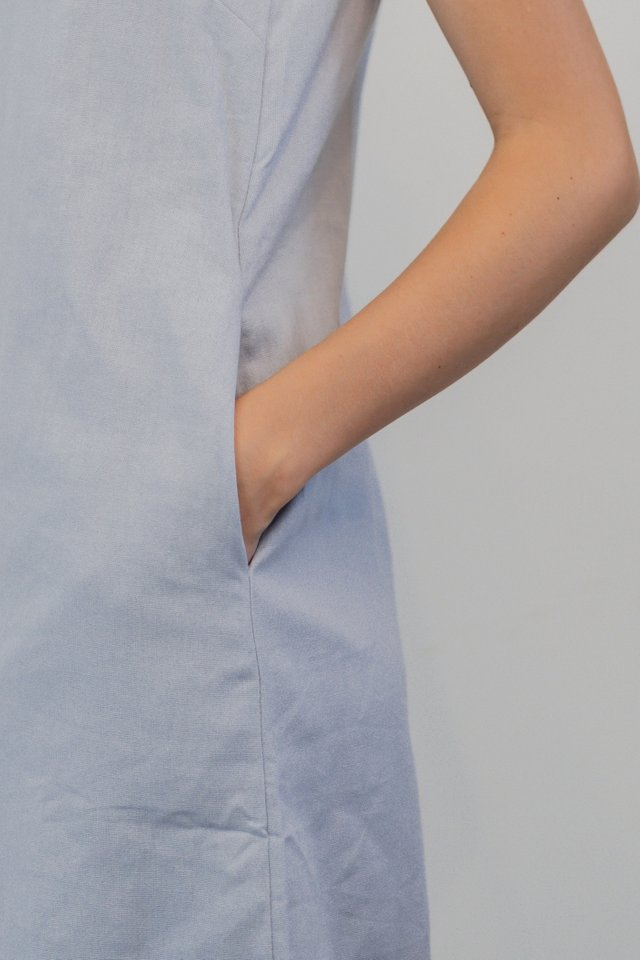ACW Linen Square Neck Shift Dress in Lilac