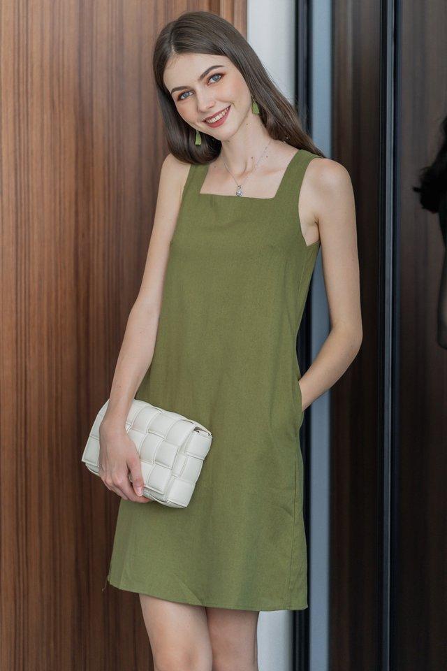 ACW Linen Square Neck Shift Dress in Olive