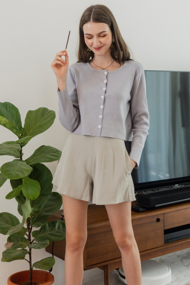 ACW Button Down Cardigan Knit Top in Grey