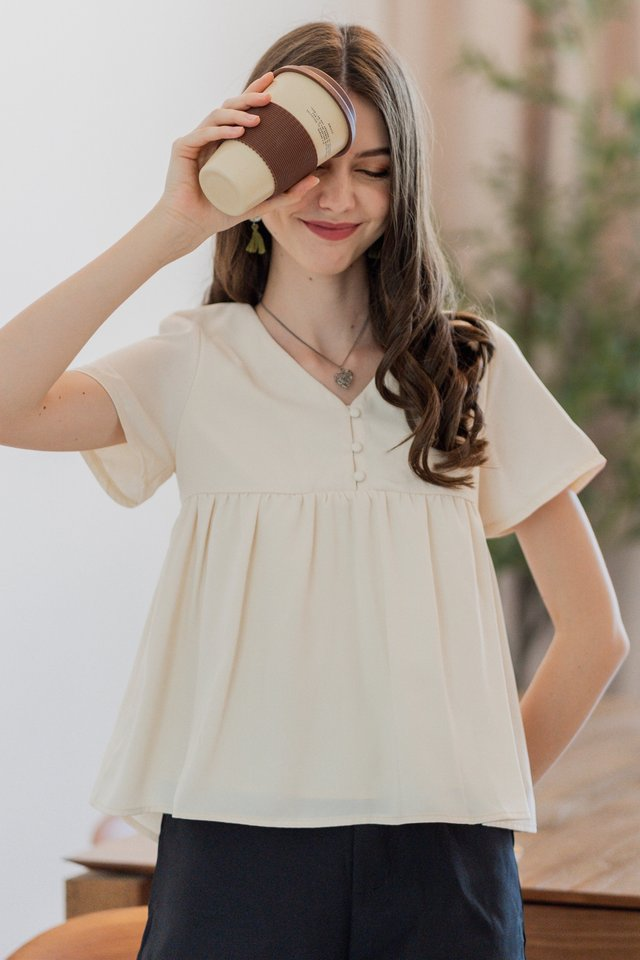ACW Button Down Babydoll Top in Ivory