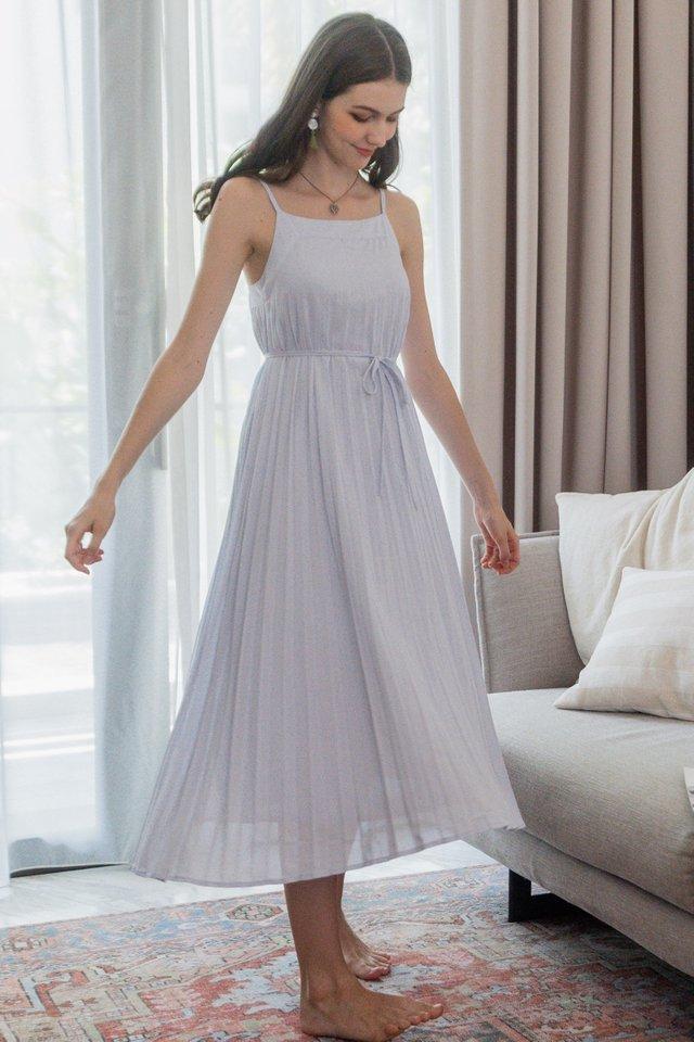 ACW Pleated Sash Maxi Dress in Lilac