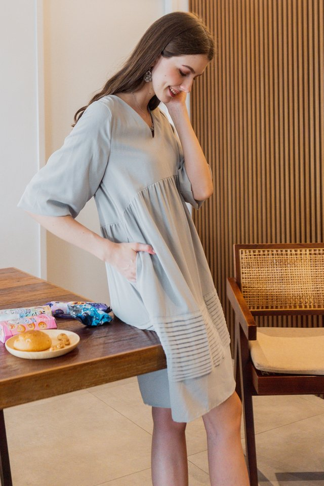 ACW Textured Lines Babydoll Dress in Sage
