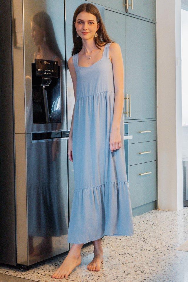 ACW Square Neck Tier Drop Hem Maxi Dress in Sky Blue