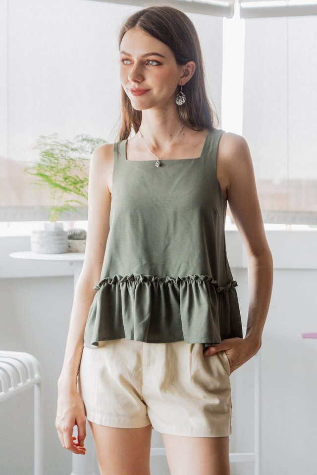 ACW Square Neck Frill Hem Babydoll Top in Olive