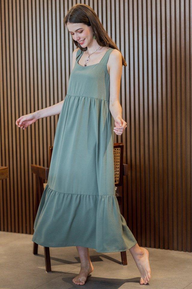 ACW Square Neck Tier Drop Hem Maxi Dress in Olive