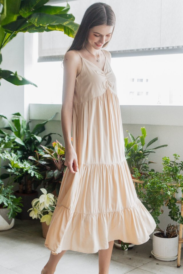 ACW Ruch Detail Maxi Dress in Ivory