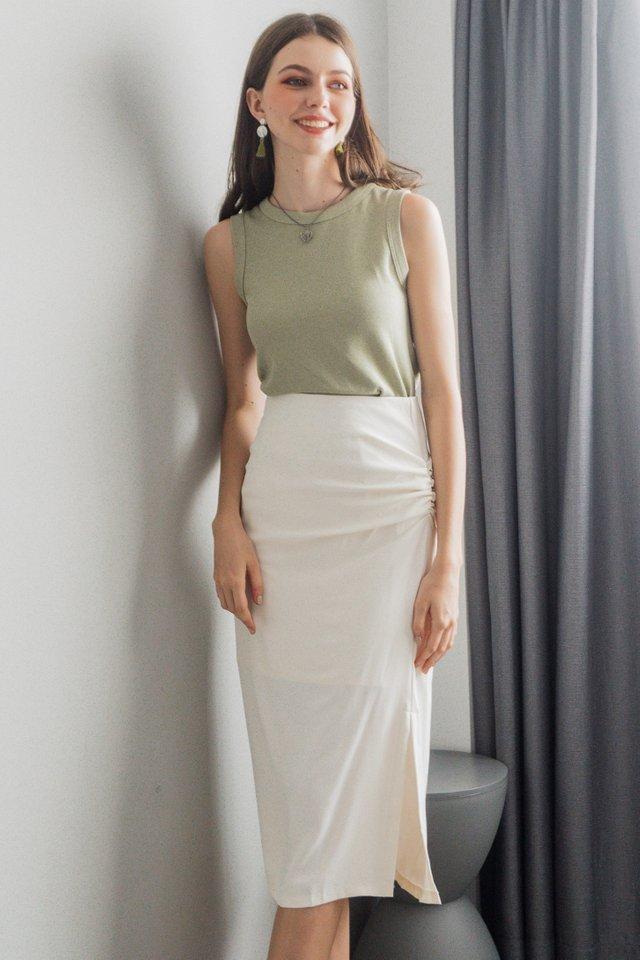 ACW Ruch Twist Midi Slit Skirt in Ivory