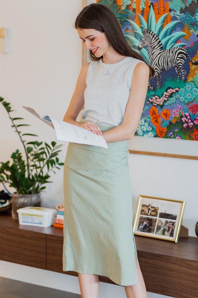 ACW Ruch Twist Midi Slit Skirt in Sage