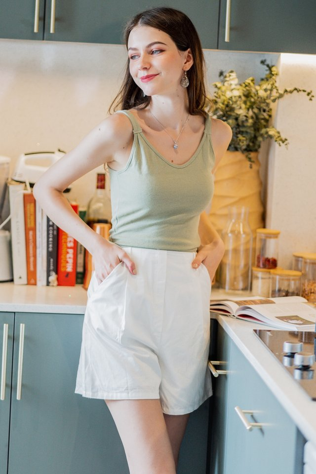 ACW Faux Two Piece Belted Romper in Sage