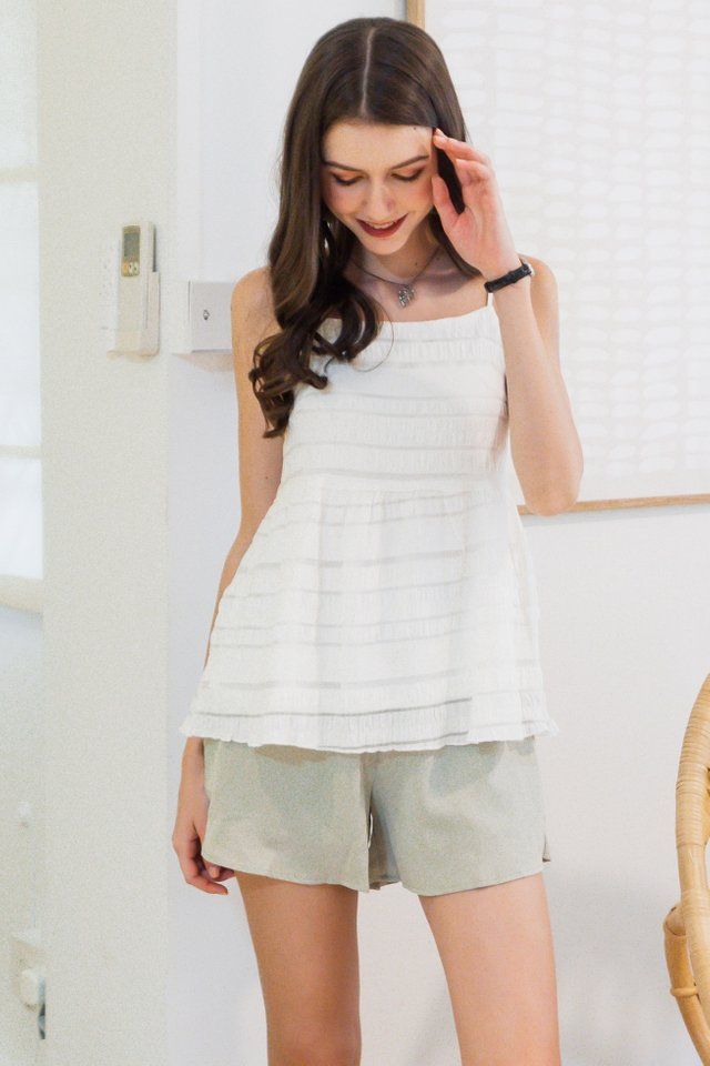 ACW Coloured Textured Babydoll Top in White