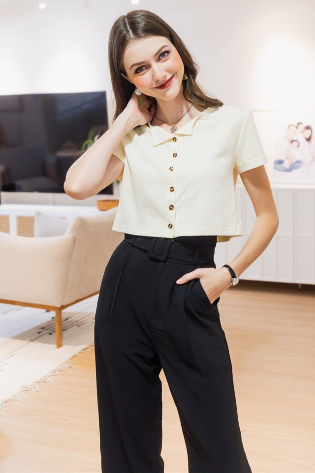 ACW Basic Button Down Knit Top in Cream