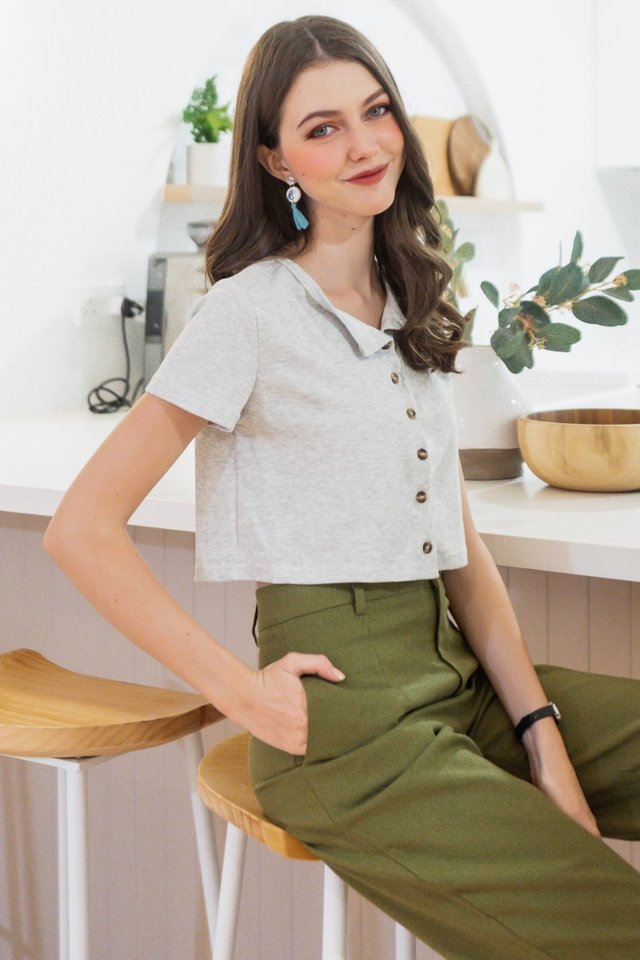 ACW Basic Button Down Knit Top in Grey