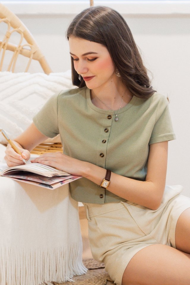 ACW Basic Button Down Knit Top in Sage