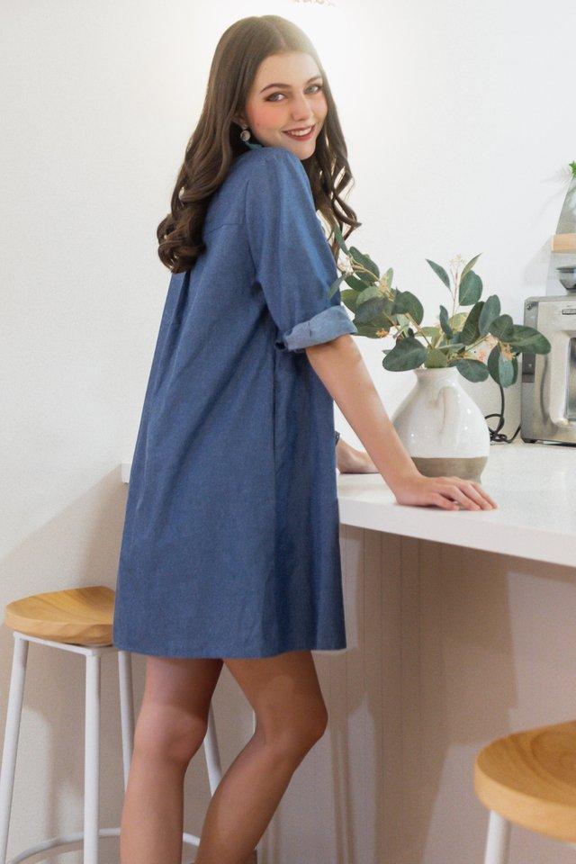 ACW Denim Button Down Shirt Dress in Mid Wash