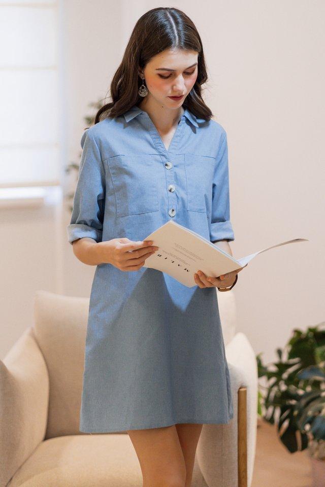ACW Denim Button Down Shirt Dress in Light Wash