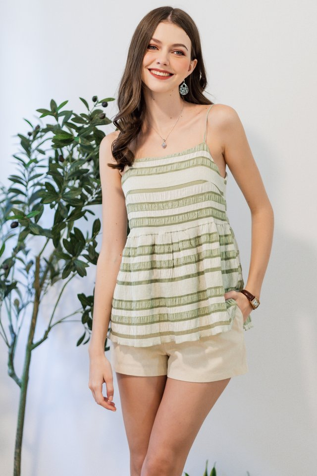 ACW Coloured Textured Babydoll Top in Sage