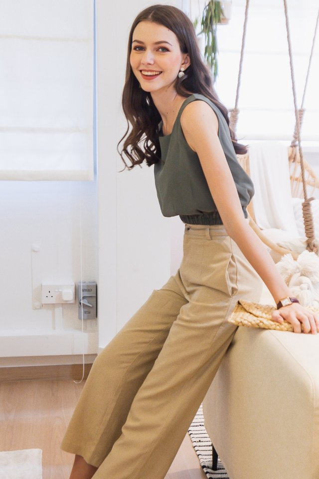 ACW Curve Elastic Band Top in Olive