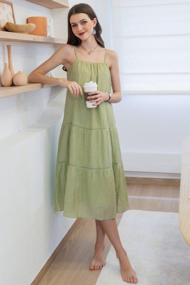Eyelet Lattice Detail Midi Dress in Avocado