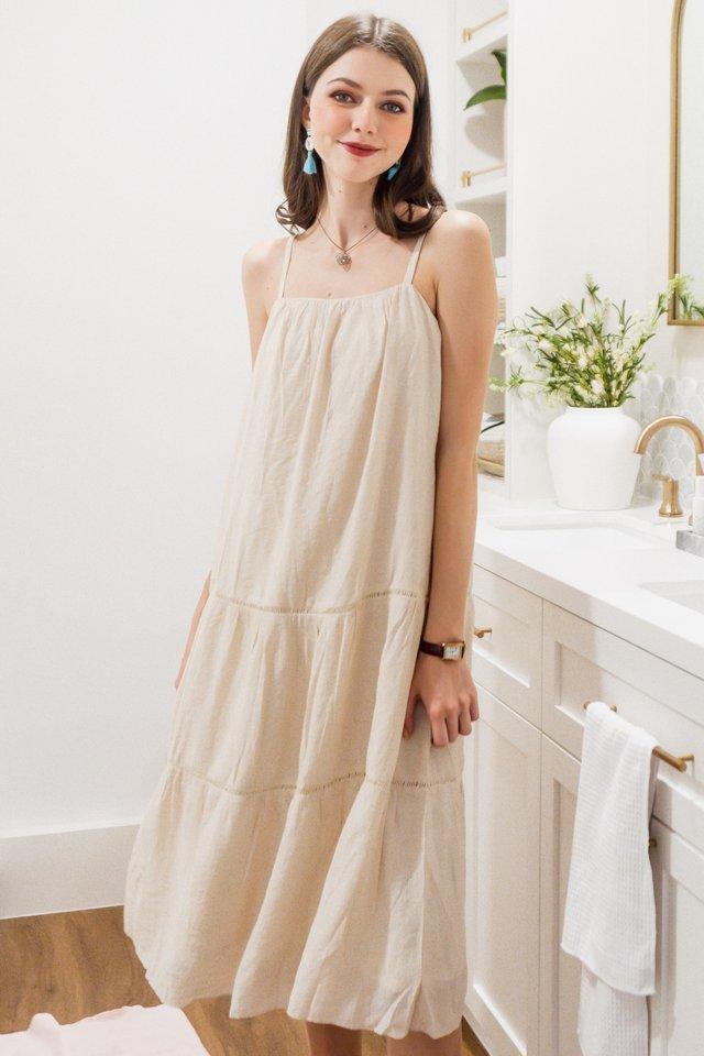 Eyelet Lattice Detail Midi Dress in Ivory