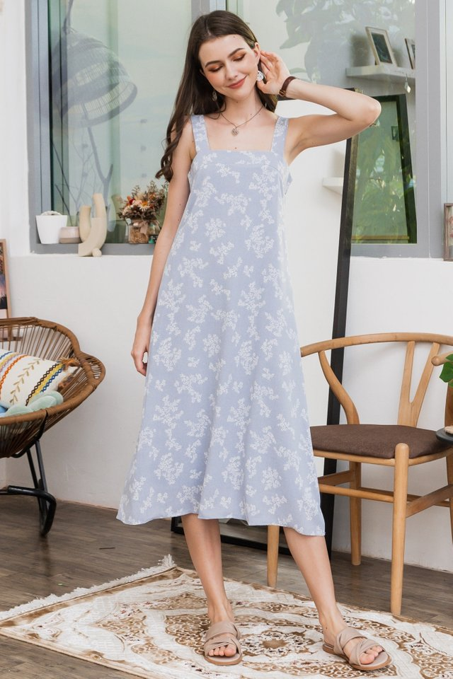 ACW Printed Thick Strap Flowy Midi Dress in Sky Blue