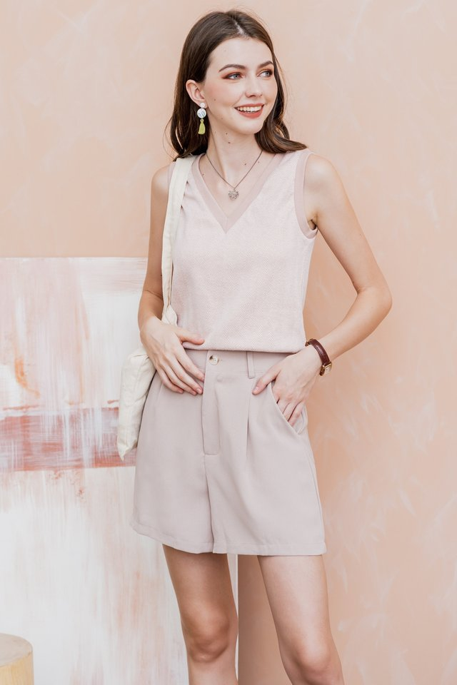 Textured Knit Trimming Top in Blush
