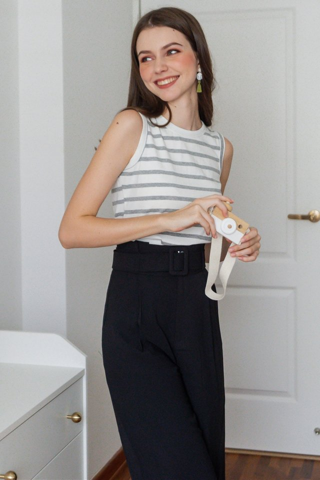 ACW Striped Sleeveless Basic Knit Top in Grey
