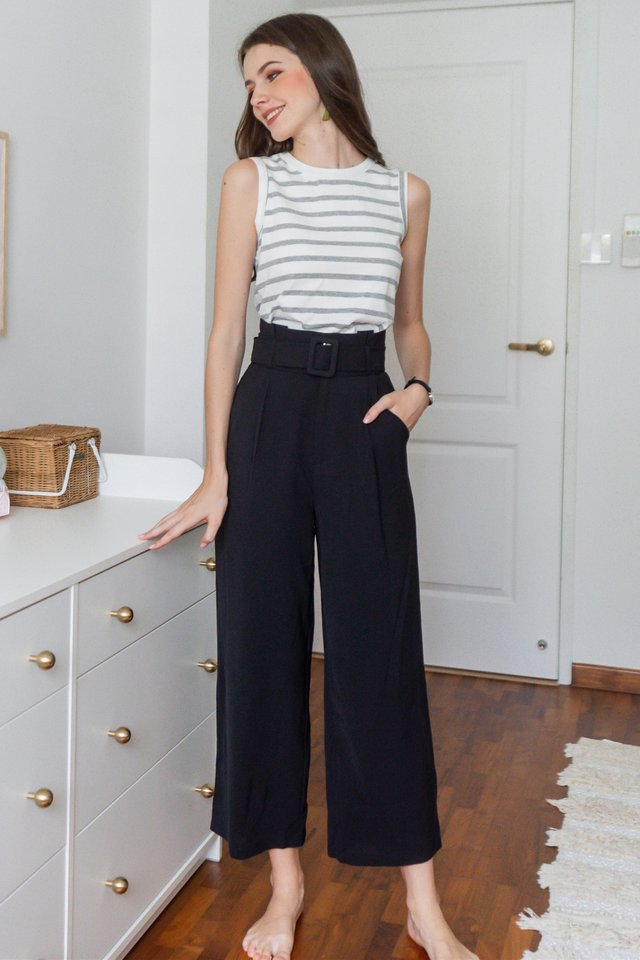 ACW Belted Flare Trousers in Black