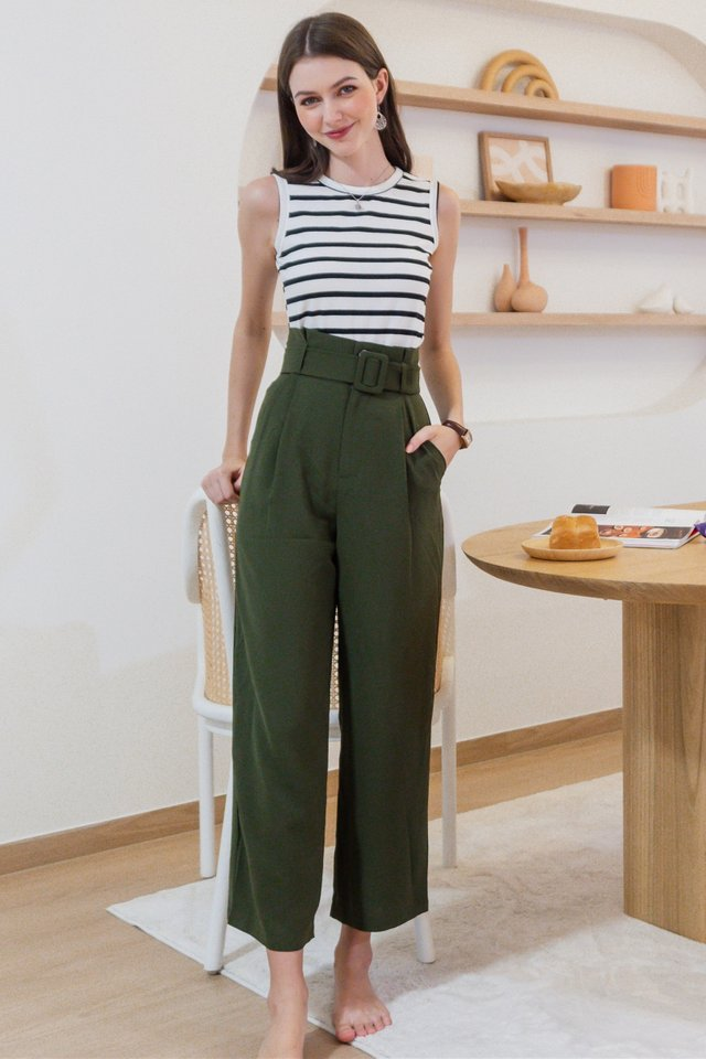 ACW Belted Flare Trousers in Olive