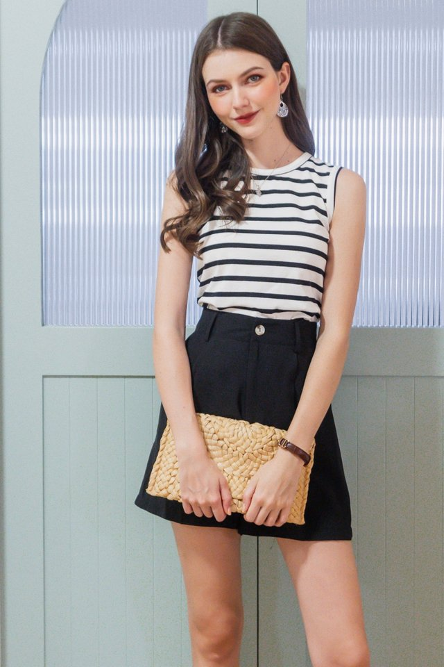 ACW Striped Sleeveless Basic Knit Top in Black