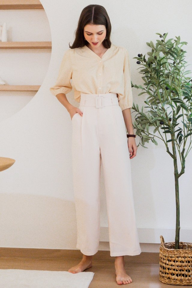ACW Belted Flare Trousers in Ivory